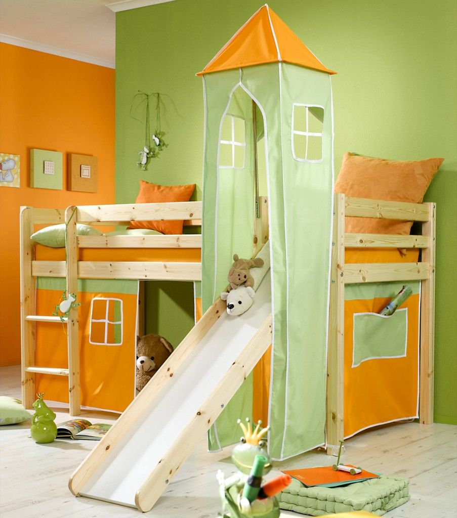 Cool Minnie Natural Midsleeper Boys Kids Bunk Bed With Orange Tent ...