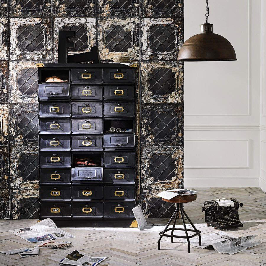 Cabinet De Rangement En M Tal Noir Office L 104 Cm Prix Cabinet  # Meuble Metal Maison Du Monde