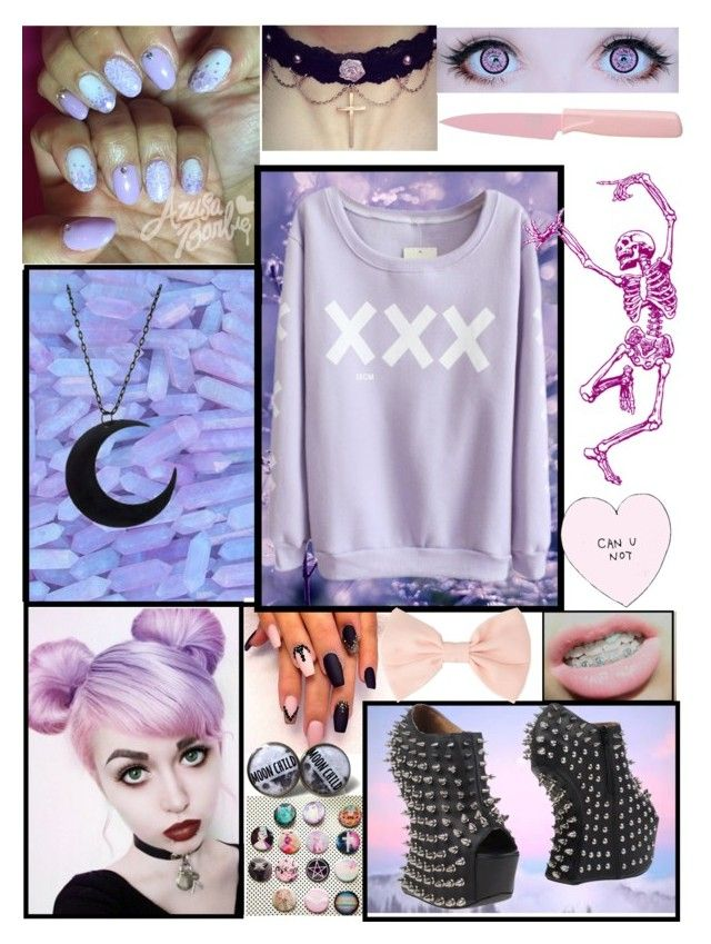 """""""🦄☠️Pastel Goth☠️🦄"""" by theabyssofdepression ❤ liked on Polyvore featuring Kuhn Rikon, Jeffrey Campbell and Forever 21"""