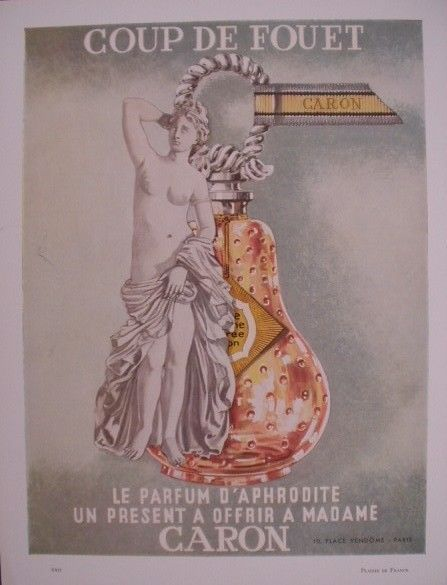 VINTAGE FRENCH PAPER AD MARCH 1958 CARON PERFUME LESPUBS