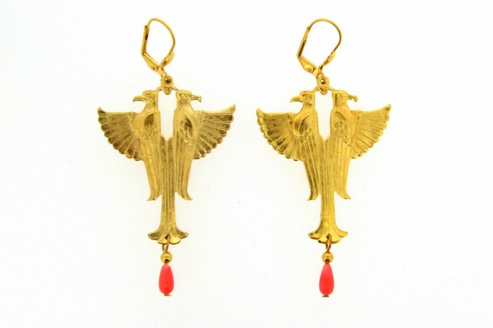 Egyptian Gold C Eagle Earrings At Hirst Antiques Jewellery London