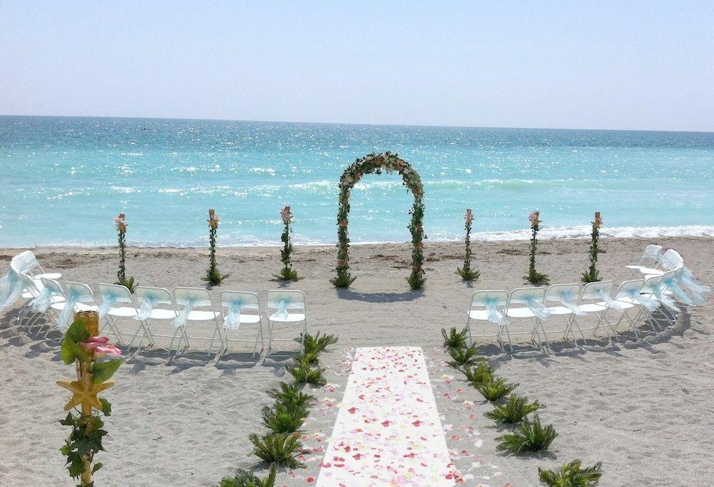 lido beach florida beach wedding arch aqua sashes | Stacey\'s ...