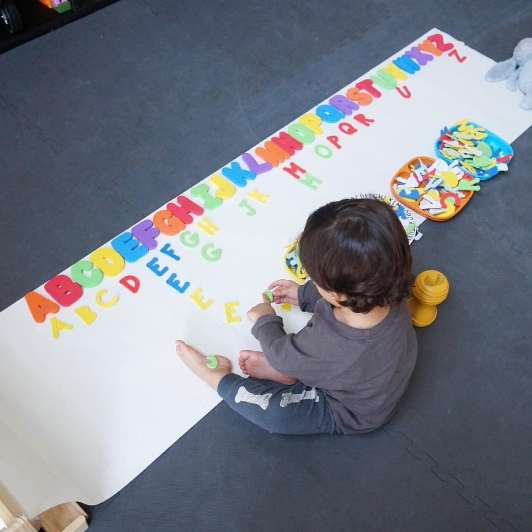 """@thomasalm3ida on Instagram: """"Searching and arranging the alphabet letters. This is by far one of Thomas' most favorite games that I made up. Thomas disfrutando de un juego """"inventado"""" por mamá. Se trata de escoger y organizar las letras haciendo filas de abecedario, realmente le gustó."""""""