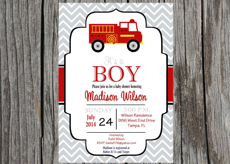 Printed Firefighter Baby Shower Invitation Fire Truck Invitation