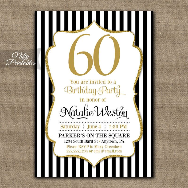 60th Birthday Invitations - Black & Gold Glitter 60 Bday Invites ...