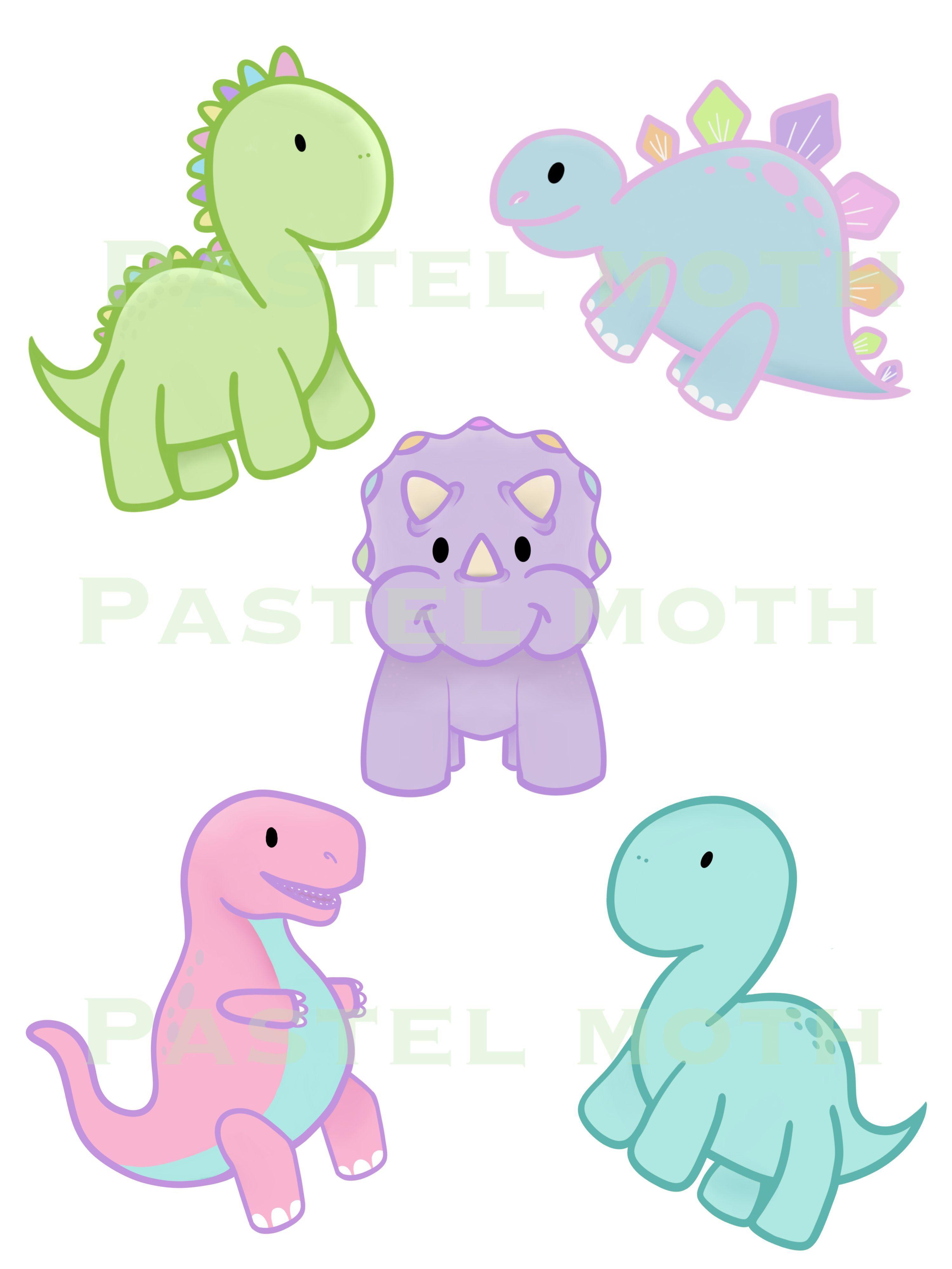 Cute Pastel Dinosaurs Dinosaurillustration Dinosaur Drawing