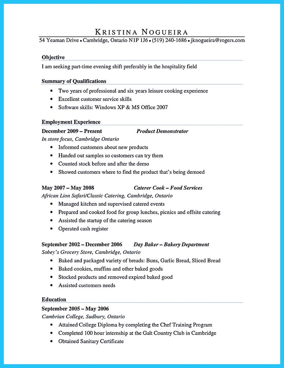 Culinary Resume Summary Patient Care Assistant Skills For