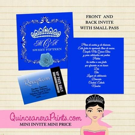 royal princess blue affordable and elegant quinceanera invitations with a matching pass - Royal Blue Quinceanera Invitations