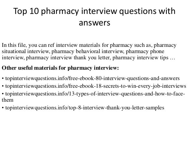 Top  Pharmacy Interview Questions With Answers  School