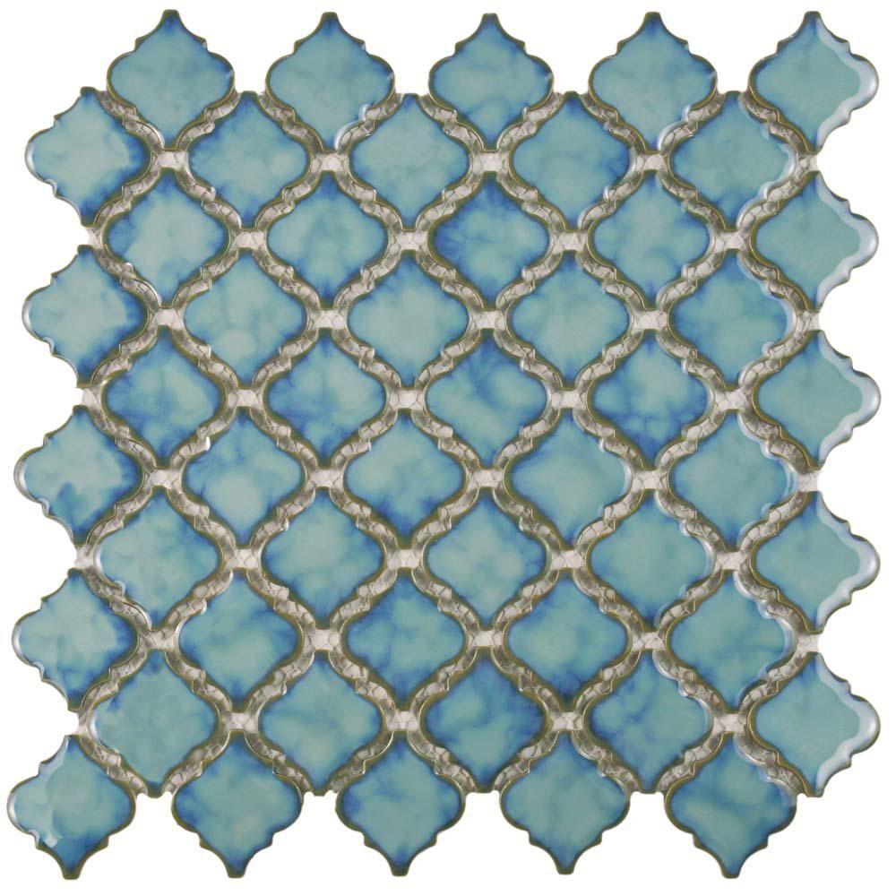 Merola Tile Hudson Tangier Marine 12 3 8 In X 12 1 2 In X 5 Mm Porcelain Mosaic Tile Porcelain Mosaic Tile Mosaic Flooring Porcelain Mosaic