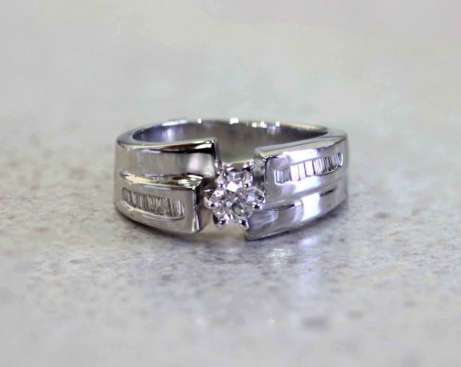 0.39ct Diamond Engagement Ring 14k White Gold