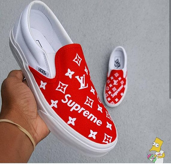 d897a7495602 Custom Supreme x LV Louis Vuitton inspired VANS slip on (any size color)