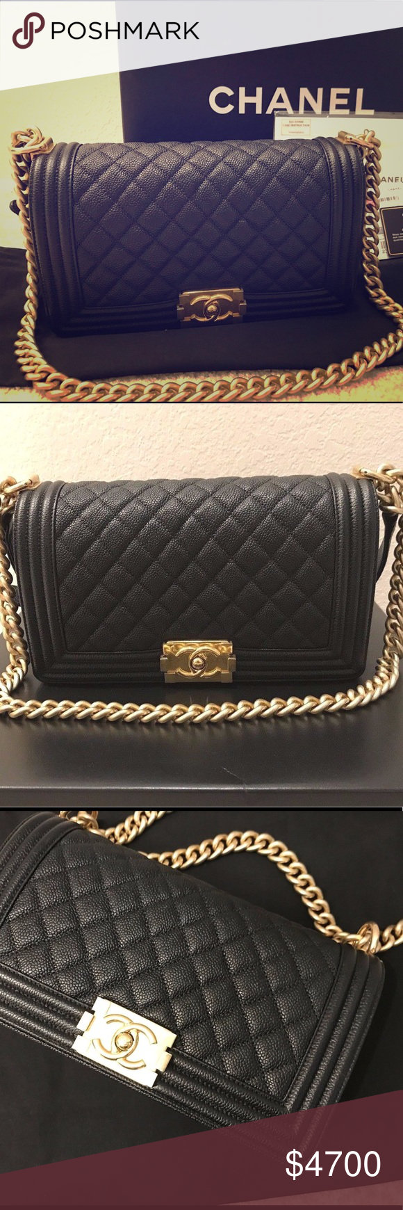185b33ae054 It s an excellent condition Chanel le boy bag in black caviar leather and gold  shiny hardware.