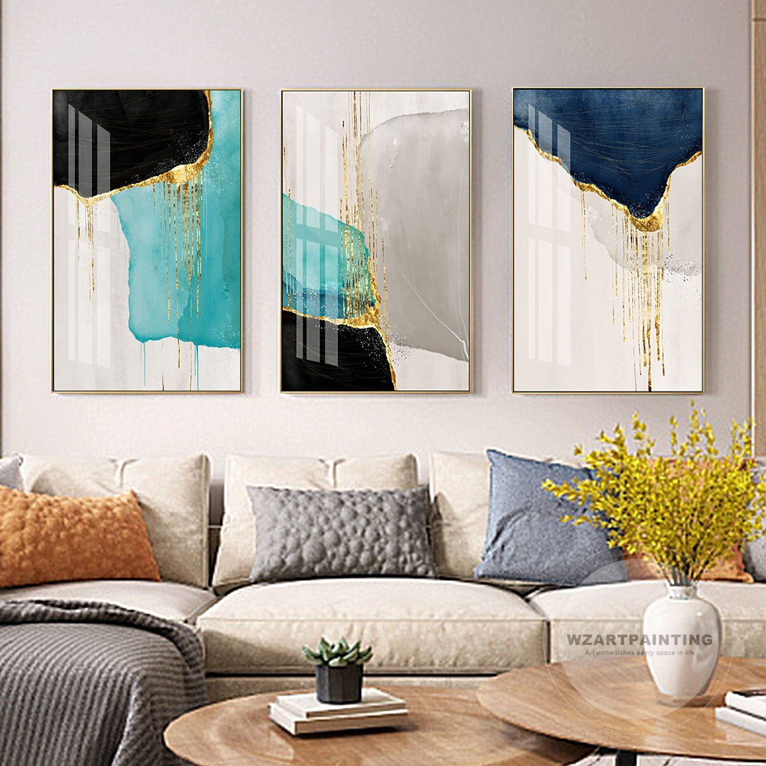 Framed Wall Art 3 Piece Set Of 3 Prints Abstract Gold Navy Blue