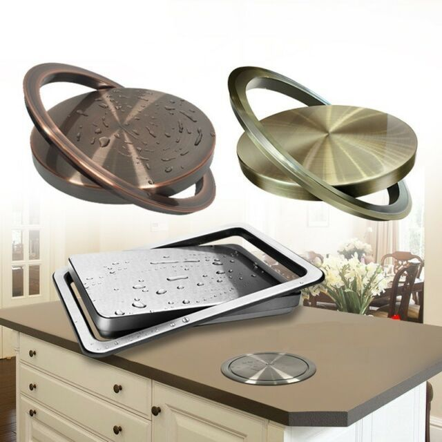 Stainless Steel Recessed Built-in Flap Lid Cover Trash Bin Kitchen Counter Top