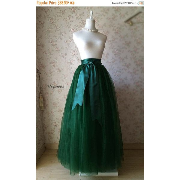 41946d9de Vintage Inspired Dark Green Skirt. Green Maxi Tulle Skirt. Elastic... ($80)  ❤ liked on Polyvore featuring skirts, multi color maxi skirt, plus size tutu,  ...