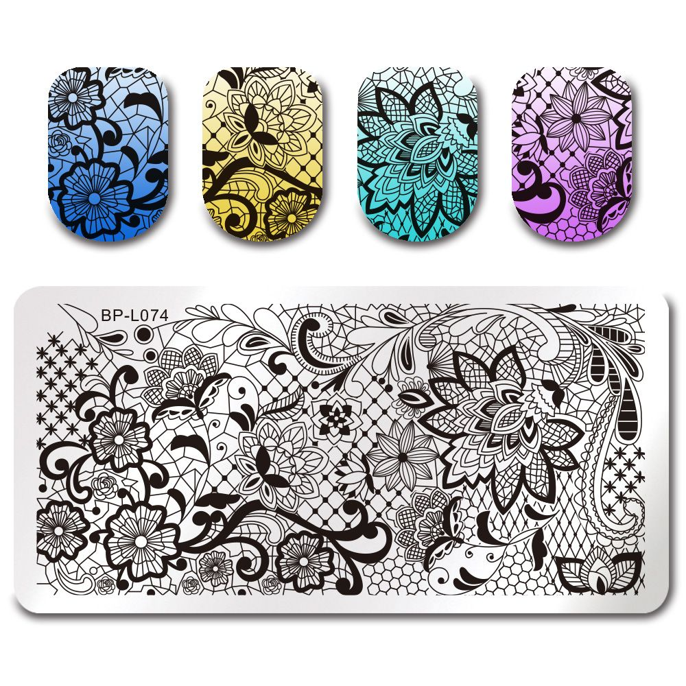 $2.99 BORN PRETTY Stamping Template Lace Vine Net Rectangle Manicure ...