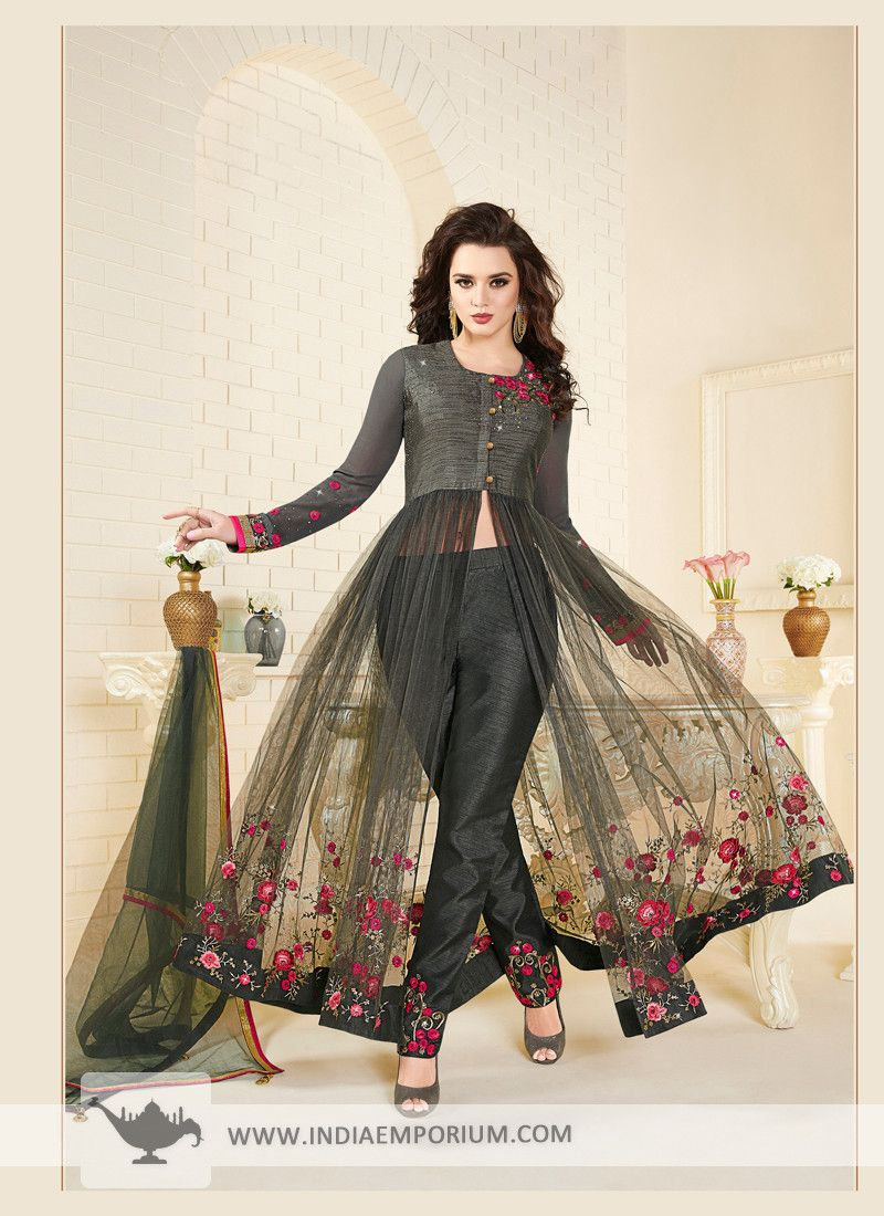 a0c36fcc173 Appealing Black Art Silk   Net Resham Embroidered and Stone Work Achkan Style  Suit