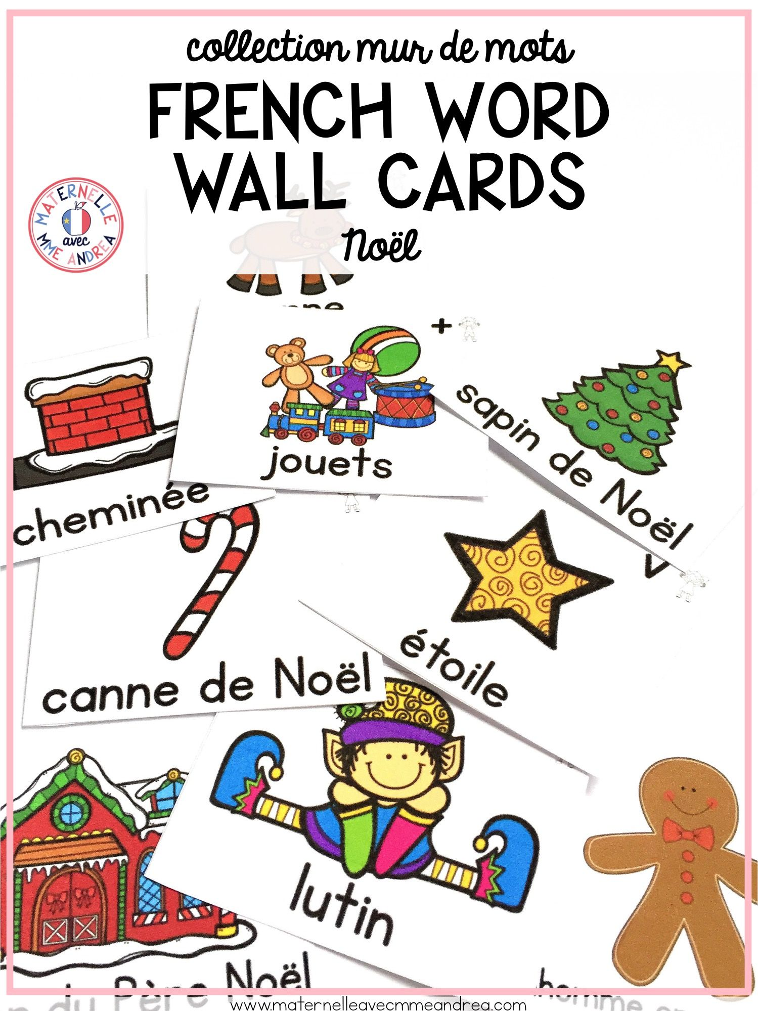 FRENCH Christmas Vocabulary Cards   Cartes de vocabulaire (Noël