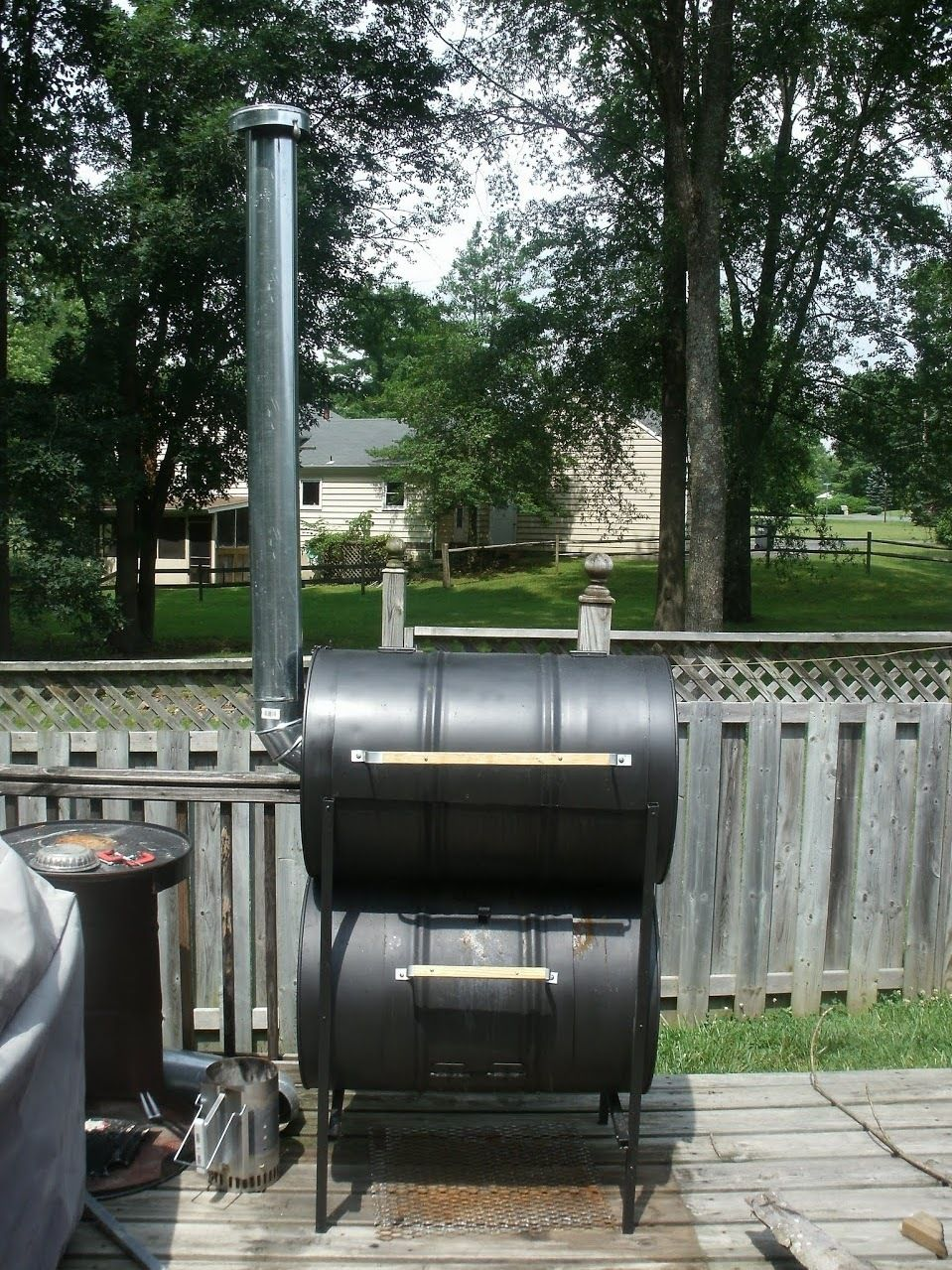 The No Weld Double Barrel Smoker And How To Use It Barrel Smoker Homemade Smoker Diy Smoker
