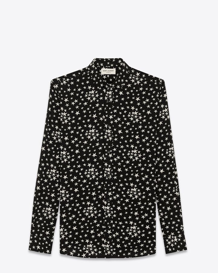 439e3699846293 Saint Laurent - Dylan Collar Shirt in black and White Star Printed Viscose