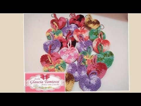 Chaveiro / Marca página coração em crochê / Glauci...