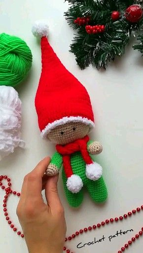 Photo of crochet pattern gnome, crochet pattern doll, christmas gift, crochet christmas, amigurumi gnome