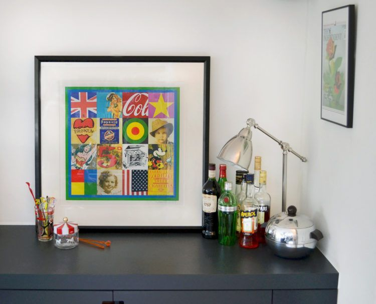 A Guide to Buying Art Online - Mad About The House This Peter Blake Print worked brilliantly by my cocktail corner. Image taken by Teddy Hall