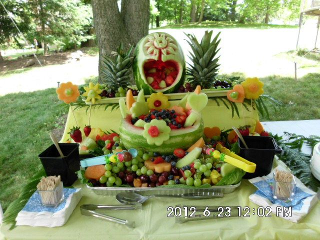 Fruit display for backyard reception.