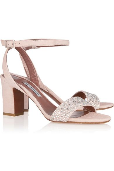 54e591795c7 Heel measures approximately 75mm  3 inches Pastel-pink suede  Buckle-fastening ankle strap Made in Italy