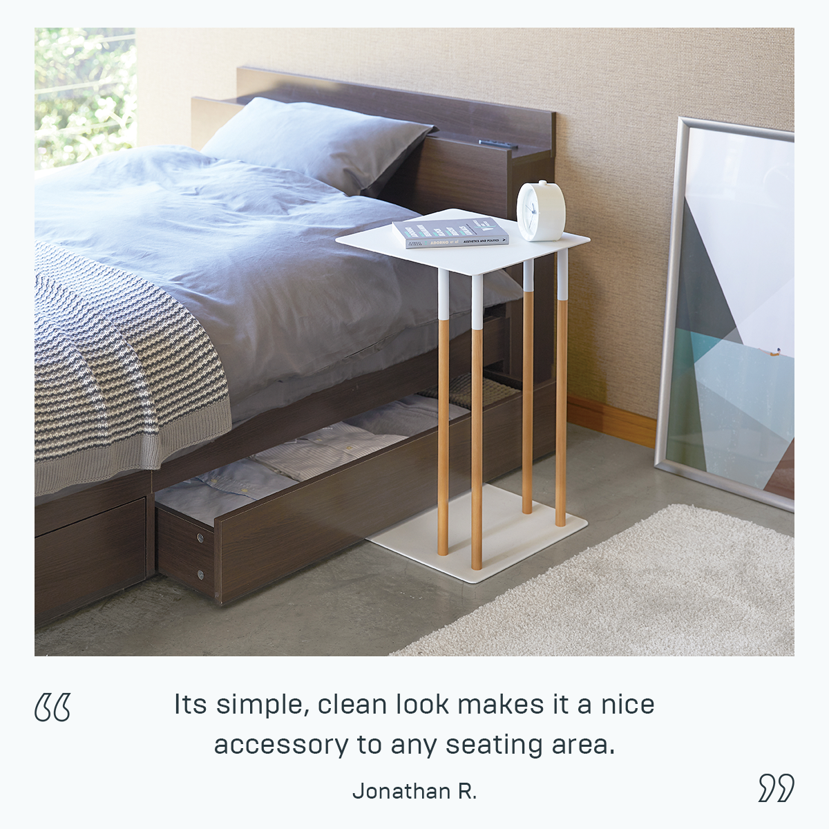 The Sliding Side Table's unique shape allows the table to be pulled close to your couch and other furniture, making a comfortable surface for placing a book or laptop. The wide base of the table adds stability to the structure and allows you to simply slide the table into position.