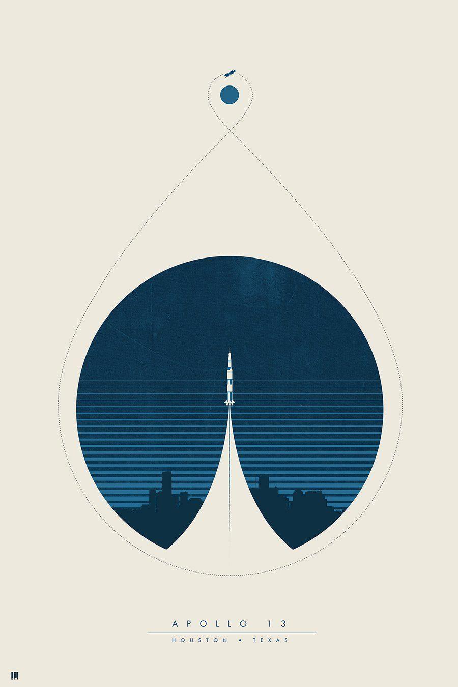 Apollo 12 Houston Texas Graphic Design Space Poster Featured