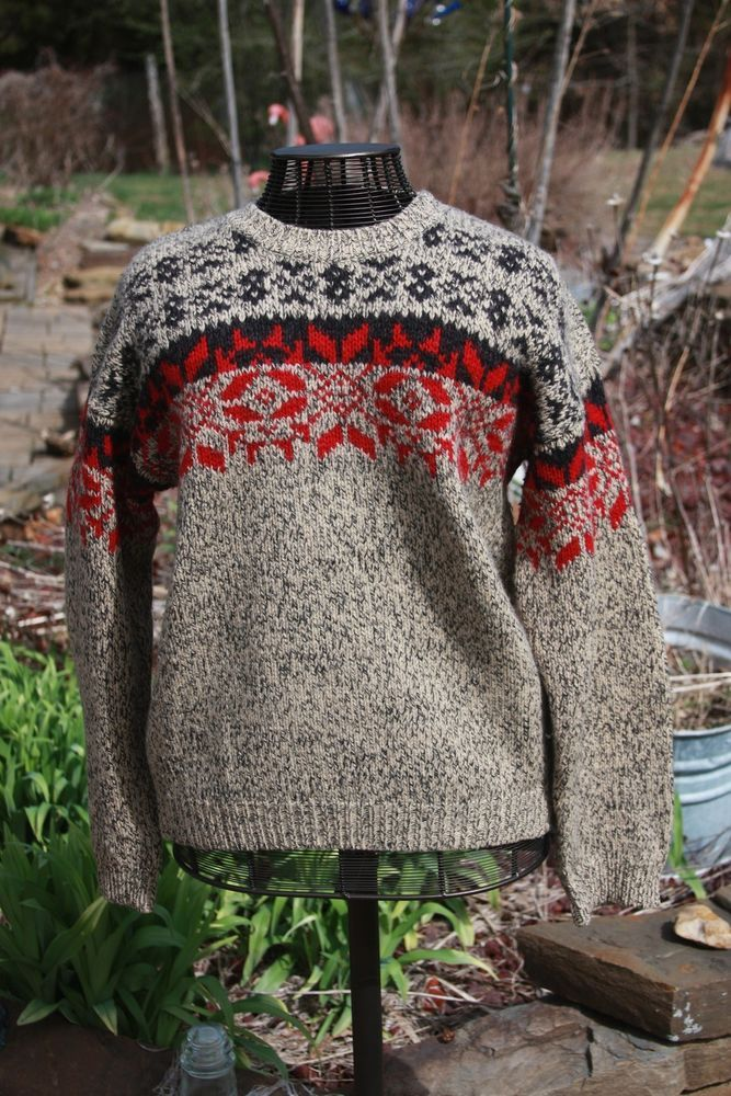 Eddie Bauer 100% Wool Ugly Christmas Cosby Sweater Retro Mens Size Large #EddieBauerLegends #Crewneck