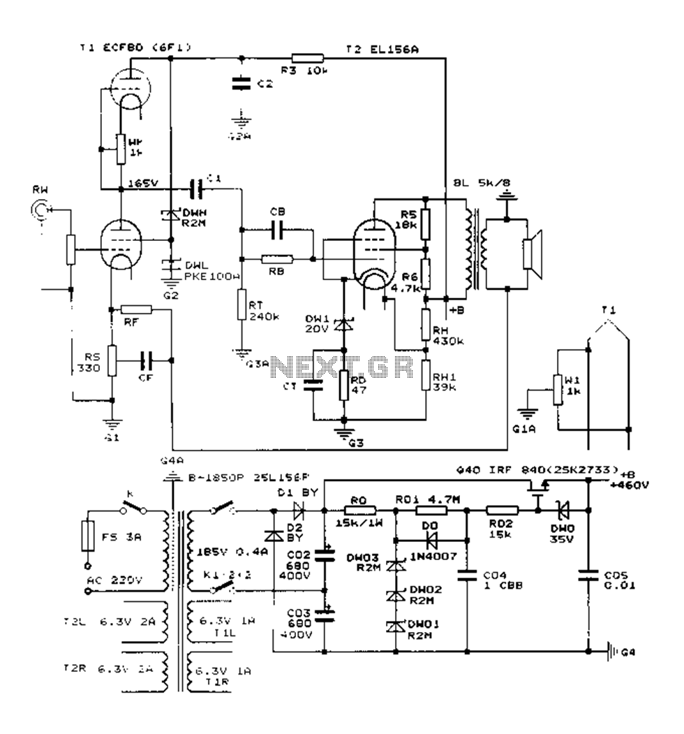 construction 25w single ended class a tube amp circuit diagram el156 rh pinterest com