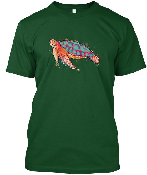 Turtle Watercolor T Shirt Deep Forest T Shirt Front Turtle Ocean