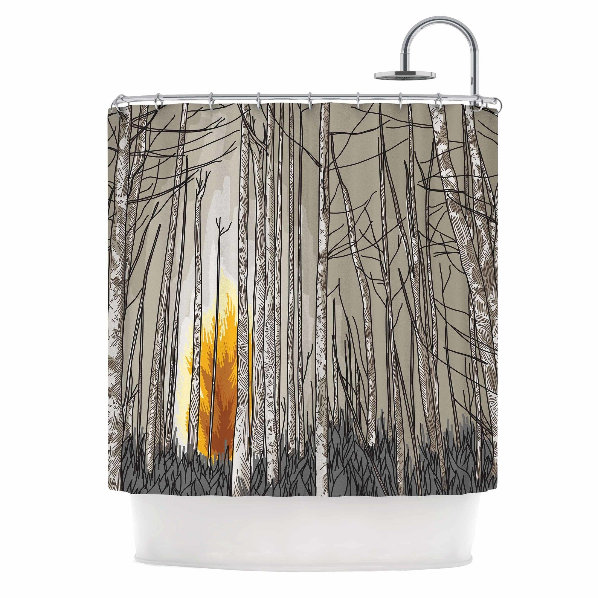 Smokey Forest Fire Shower Curtain