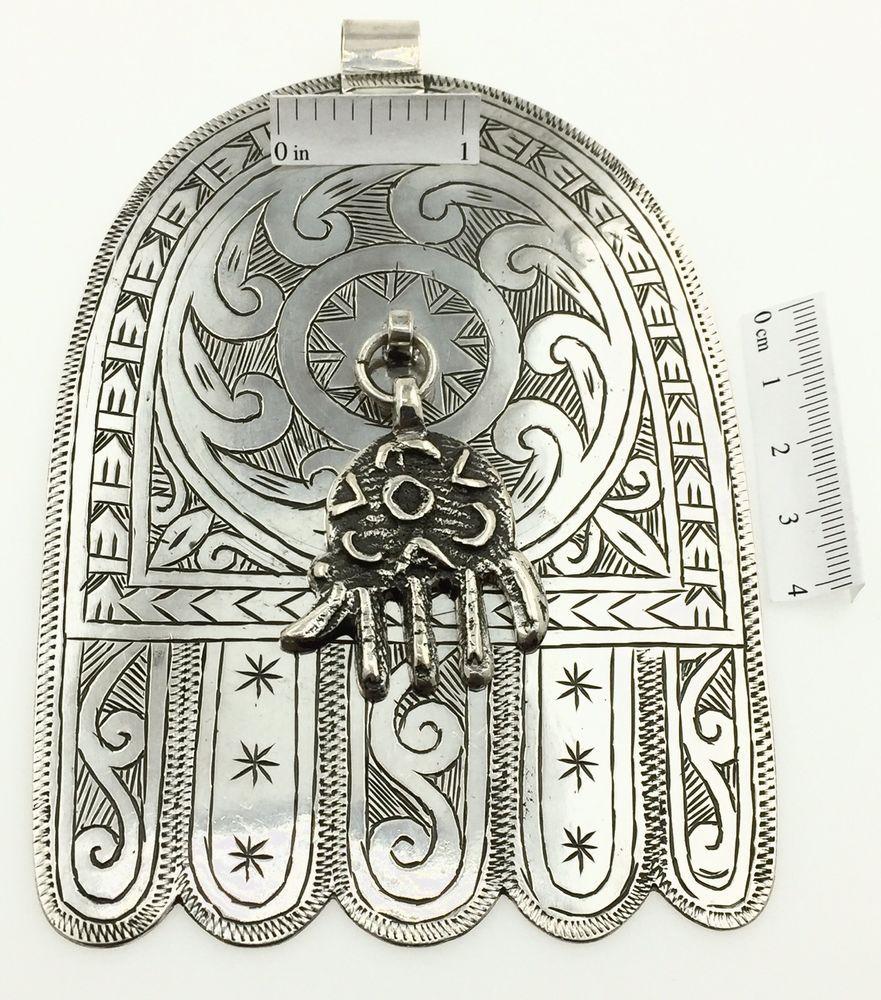 Silver Moroccan Berber Hamsa Pendant Huge Hand Evil Eye Amulet
