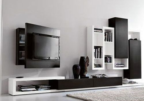 awesome wall mounted cubby storage contemporary bedroom | Wall TV Cabinet Designs- very cool behind the screen ...