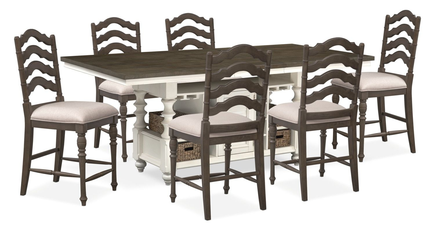 Charleston Counter Height Dining Table And 6 Stools   Gray And White