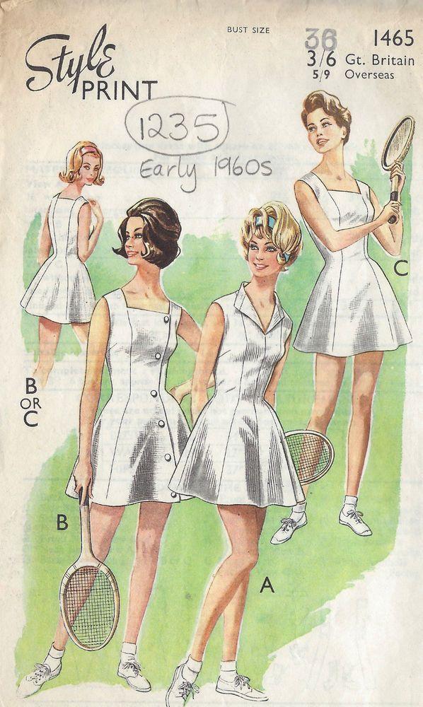 1960s Vintage Sewing Pattern B36 Tennis Dress 1235 Vintage Sewing Patterns Vintage Vogue Sewing Patterns Tennis Dress Pattern