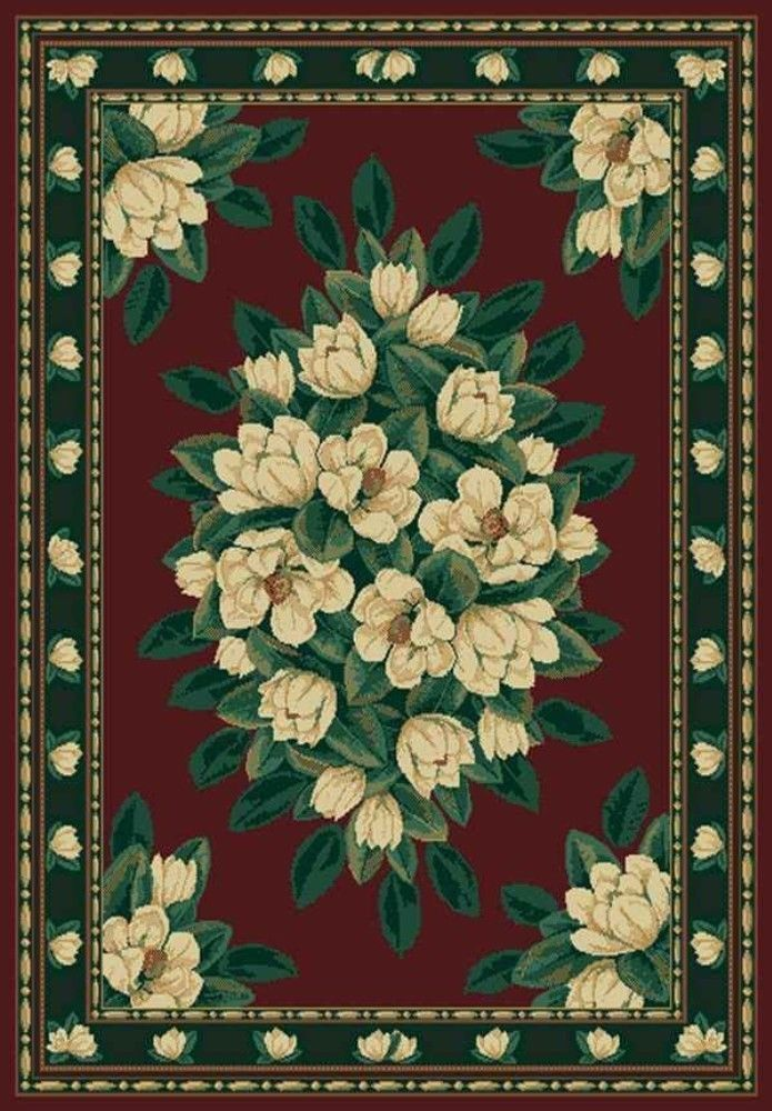 Beautiful Magnolia Floral Burgundy Red 2X8 Runner Area Rug