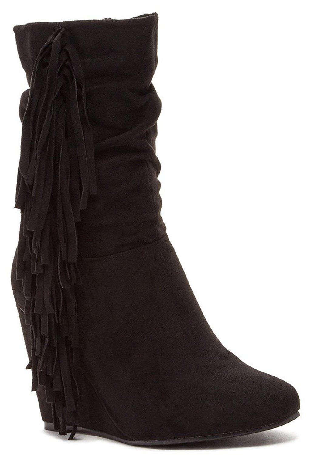 Noalanda Womens Fashion Fringed Wedge Boots