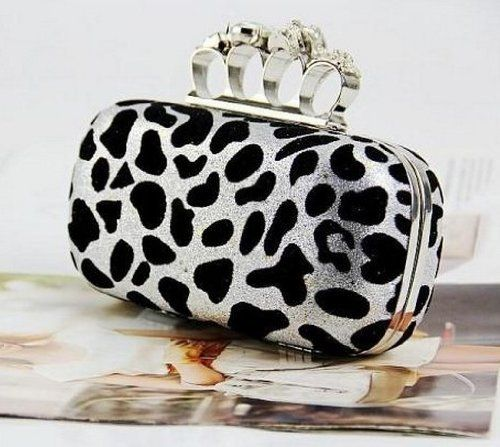 Deshiny Leopard Point Skull Knuckle Rings Clutch Evening Bag Handbag Purse with Metal Chain (Silver) Deshiny, To SEE or BUY Just CLICK on AMAZON right HERE http://www.amazon.com/dp/B00DU9TQRG/ref=cm_sw_r_pi_dp_iHOdtb0EBWAPSH10