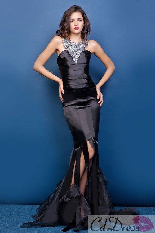 Fashion Trumpet Scoop Brush Train Elastic Satin Evening Dress - Special Occasion Dresses - CDdress.com