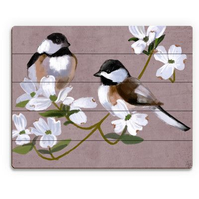"Click Wall Art 'Two Chickadees' Painting Print on Plaque Size: 20"" H x 24"" W x 1"" D"