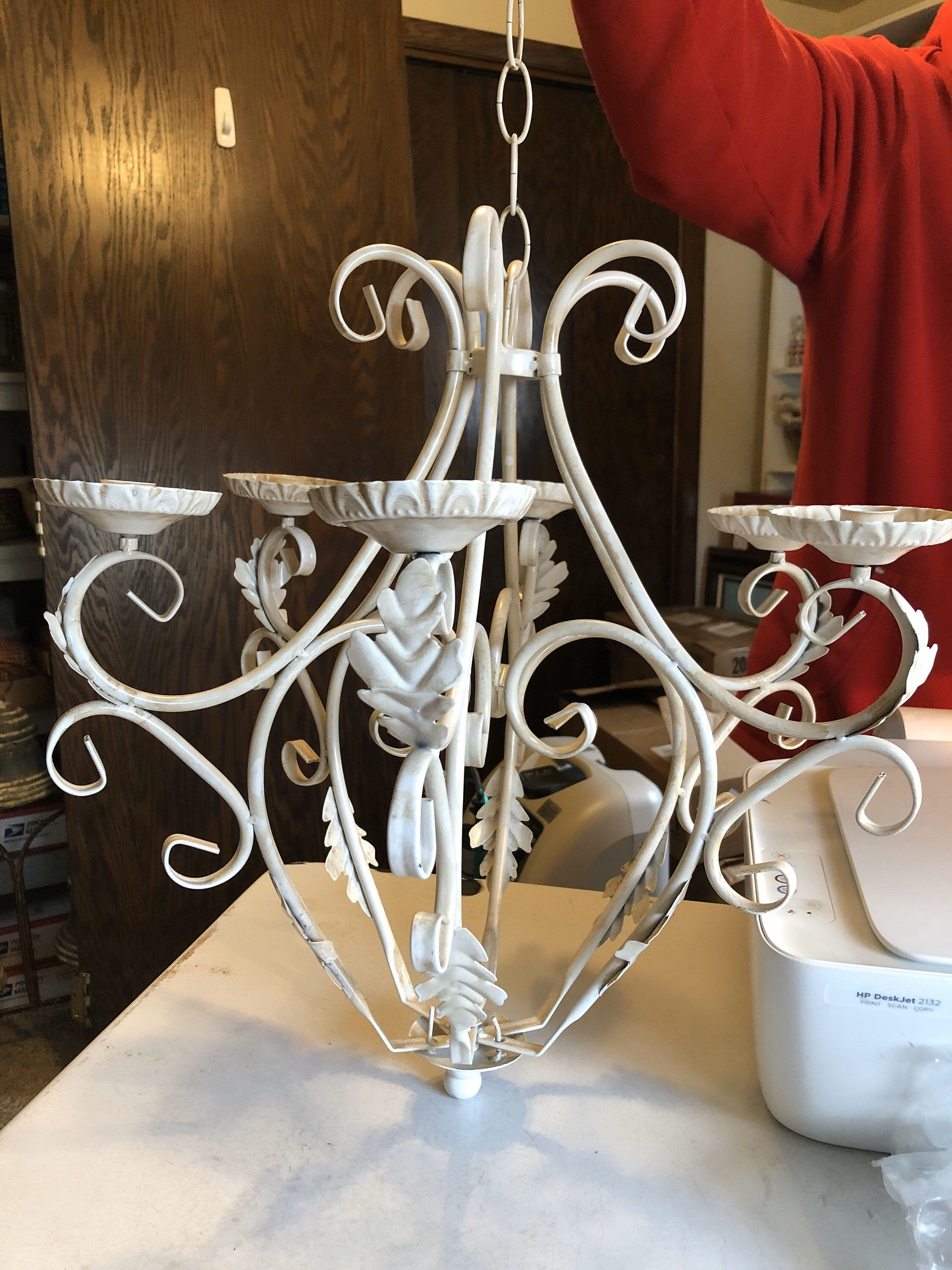 Shabby Chic Candle Chandelier Non Electric Metal Hanging ... on Decorative Sconces Don't Need Electric Toothbrush id=32382