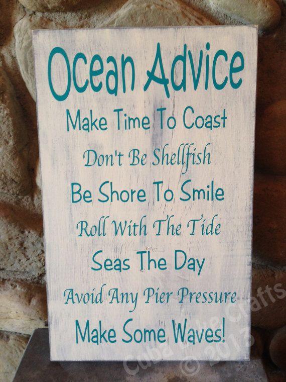 9 X13 Ocean Advice Home Decor Wood Sign Wall Hanging Beach