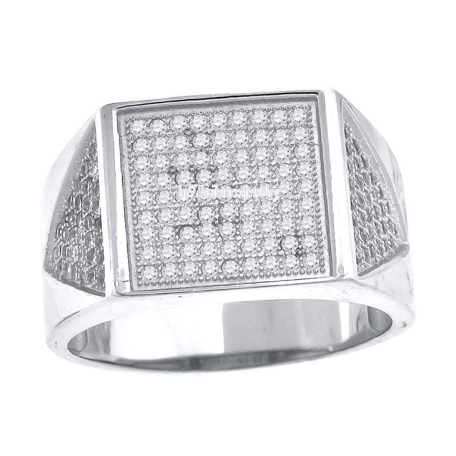 14k White Gold Round Cut Diamond Men S Hip Hop Iced Out Pinky