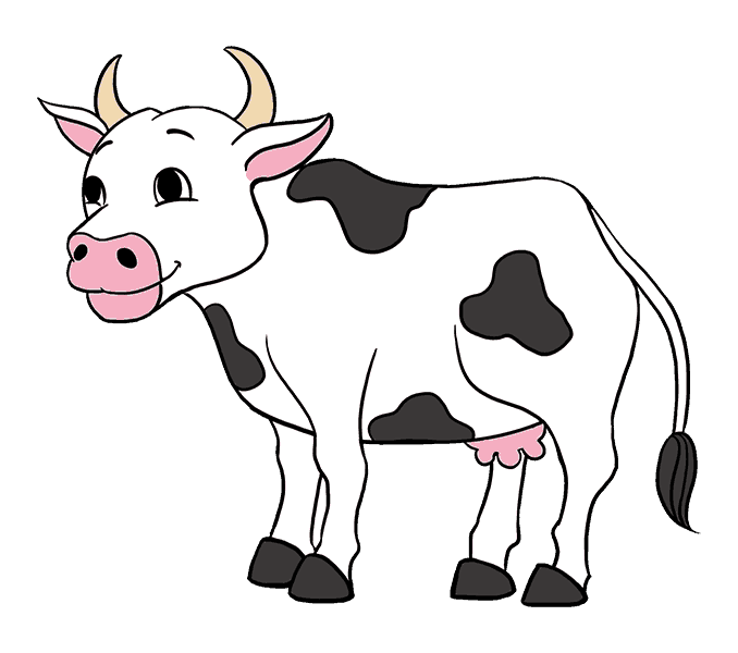 How To Draw A Cartoon Cow In A Few Easy Steps Easy Drawing Guides Cow Drawing Cartoon Cow Drawings