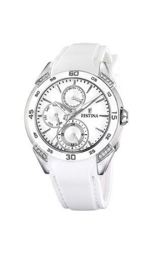 Festina Multifunction Crystal Accents Ceramic Bezel White Dial Women S Watch F16394 1 Festina 151 31 Rubber Strap W Festina Ceramic Watch Skeleton Watches